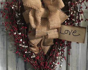 "18""x12"" primitive country grapevine valentines heart wreath"