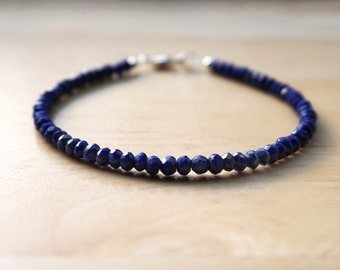 Lapis Lazuli Bracelet (AAA quality), Sterling Silver Gemstone Bracelet, Lapis Lazuli Jewelry, Gemstone Bracelet, Thin Gemstone Bracelet