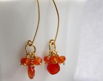 Carnelian Earrings, Febuary Birthstone, orange gemstone earrings, gift for her,gift women, gift for mom summer gift