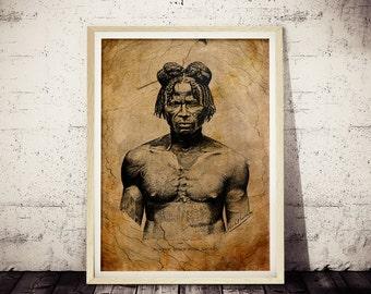 1875 Restored African Art. African Male Tribal Art, 1800s Vintage Art Poster, Vintage Africa