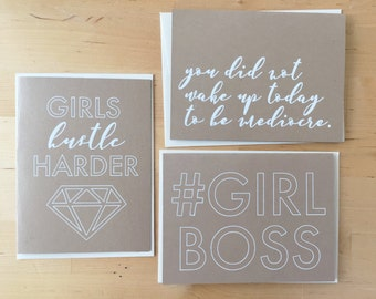 Girl Boss Greeting Card Set - greeting card variety pack - #girlboss handmade cards - feminist card - girl squad - friendship card