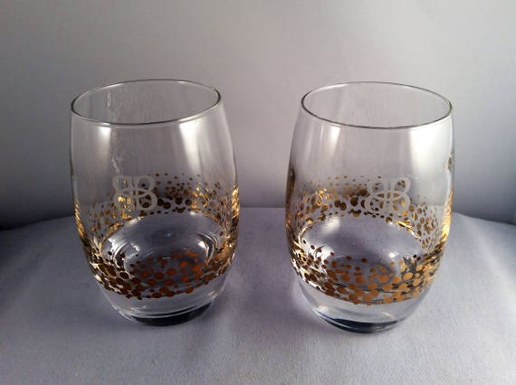 Gold Luster Stemless Wine Glasses Heavy Glass Thick Bottom
