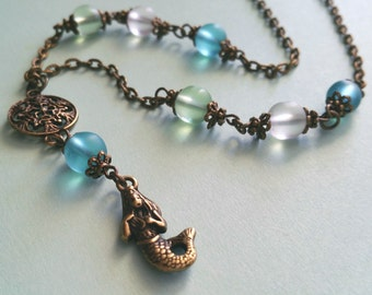 Mermaid Necklace / Nautical Necklace / Bead Necklace / Bronze Necklace / Vintage Necklace