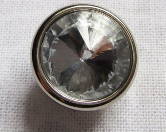 Silver shank button with Crystal centre