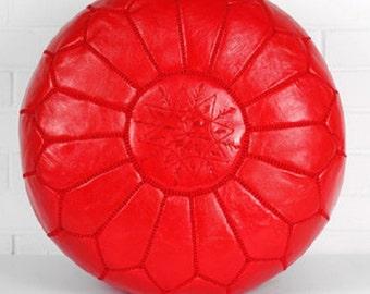 Handmade Moroccan Genuine Leather Pouf Ottoman