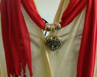 Pendant Necklace Scarves/Debra's Design Studio Gift Guide/Gift for Her/Red/All Colors Available