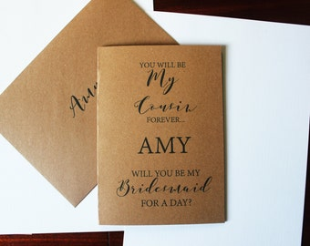 Cousin Will You Be My Bridesmaid Card A5 Kraft Rustic