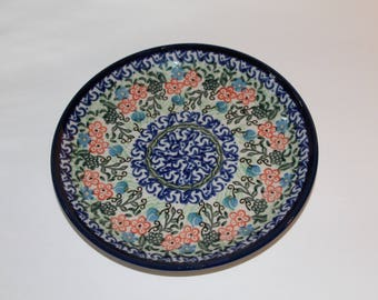 Vintage Poland Plate, Floral Ceramic Plate Made In Poland