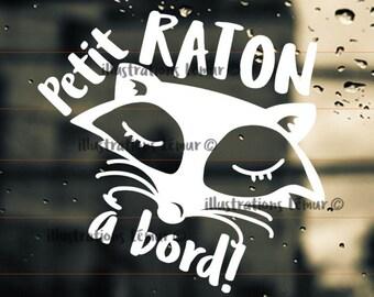 raccoon on board,baby on board-sticker-car-windshield-custom-colors-raccoon-