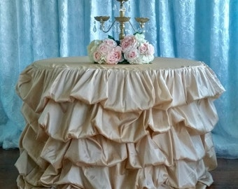 "SALE! 108"" Ruffle Tablecloth, Champagne Ruffled Table Cloth, Champagne Ruched Table Cloth"