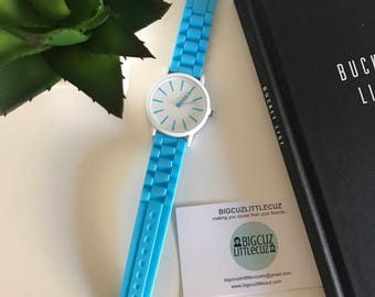 Bright Blue & White Large Face Watch