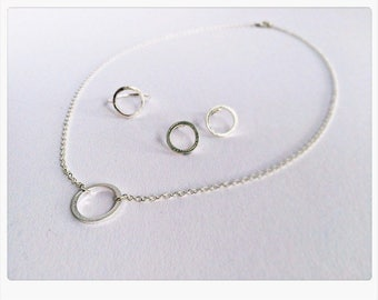 Jewelry Set SILVER, Circle of Life, Karma: necklace, ring, earrings