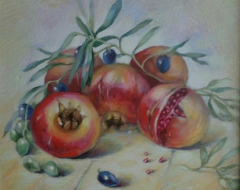 Original pomegranates oil painting, still life, kitchen art