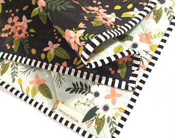 Modern Wholecloth Baby Quilt-Modern Baby Girl Quilt-Baby Quilt Blanket-Floral Baby Quilt, Boho Baby Quilt, Indie Baby Quilt