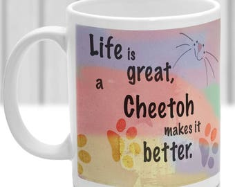Cheetoh cat mug, Cheetoh cat gift, ideal present for cat lover