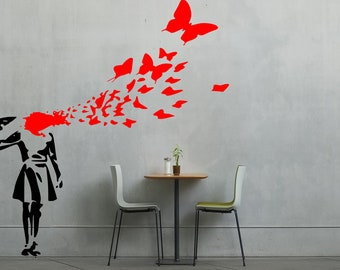 Banksy Girl Shooting Herself Into Butterflies vinyl wall art
