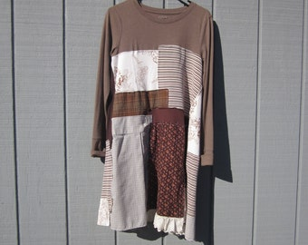 Sustainable clothing upcycled tunic dress repurposed fabric earthy brown green cream apricot raw edges flat seams comfortable lace patchwork