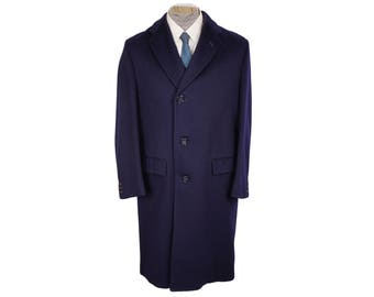Vintage Mens Blue Wool Overcoat 1950s Blue Coat Hand Tailored Excellent