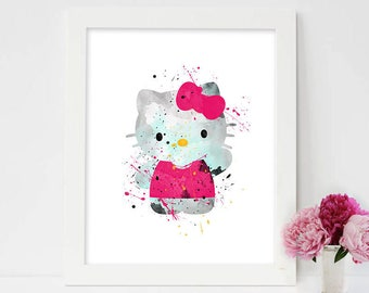 hello kitty gifts, hello kitty prints, birthday party, gifts for girlfriend, fanart, cute gifts for her, christmas gifts