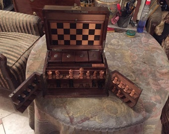 Beautiful Antique Chess Checkers And Domino Game Box