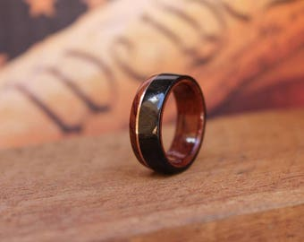 African Blackwood Ring Copper Rosewood - Wooden Ring Wood Wedding Ring Engagement Ring Wood Anniversary Couples Ring Promise Ring
