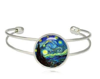 Starry Night Cuff Bangle Bracelet Van Gogh Starry Night Fangirl Fanboy