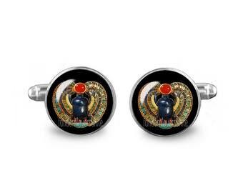 Scarab Cuff Links Egyptian Scarab Beetle Cuff Links 16mm Cufflinks Gift for Men Groomsmen Novelty Cuff links Fandom Jewelry