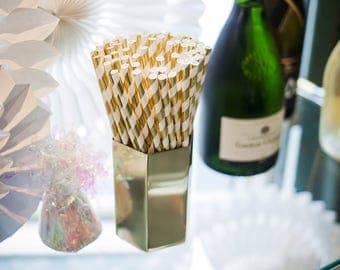 Gold Straws Party Supplies | Gold Straws | Metallic Striped Straws Party Supplies