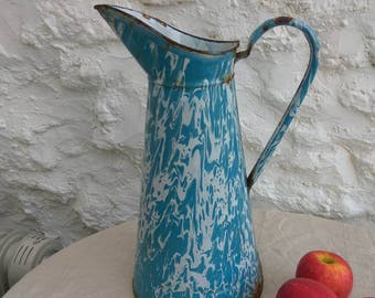 Large vintage French enamel pitcher. Turquoise marbled effect. Water carrier jug.