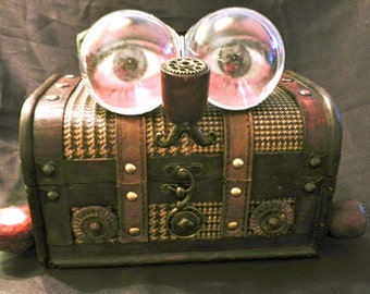Steampunk Jewelry Box - Pay the Piper - medium wooden jewelry box (re-purposed) - artist Dar B. / Sausage Arts