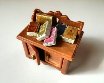 Miniature books, twelfth scale, set of 10 dollhouse library fillers, antiquarian books, vintage look, miniature journal, 1 inch scale