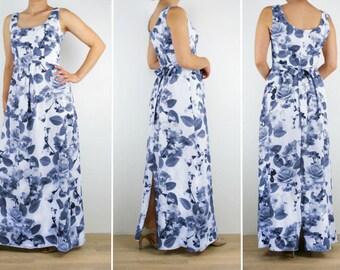 Bridesmaid dress, Ladies long floral maxi dress, blue pink white green purple Australian Made womens Vintage inspired print 6 8 10 12 14 16