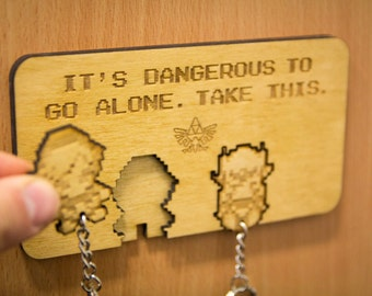 "Legend of Zelda ""It's dangerous to go alone!"" Lasercut & Engraved keyring and wall mount"