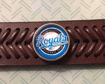 Baseball Fans - Here you go Royals Fans - Quality Genuine Leather Interchangeable Snap Bracelet with a Royals Snap - Adjustable