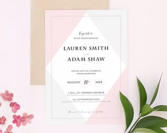 Beautiful Blush Wedding Invitation Stationery - Invites | Save the Date | RSVP | Envelope - Pink, Blush, Modern, Grey, Geometric, Diamond