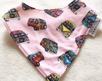 Black and Pink camper vans handmade bandana style dribble bib