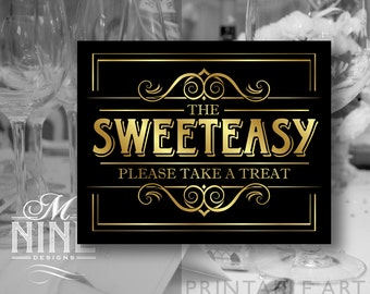 "Black and Gold Party Printable Sign ""THE SWEETEASY Please Take A Treat"" Vintage Party Sign Download, Wedding Signs, Candy Party BWBG32"