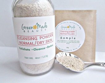 Cleansing face powder, normal /dry skin- Cleansing grains/ Skin exfoliator/Face scrub/ Face detox- 4oz.
