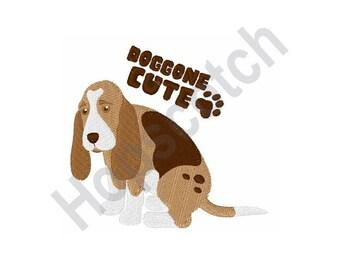 Doggone Cute Basset Hound - Machine Embroidery Design