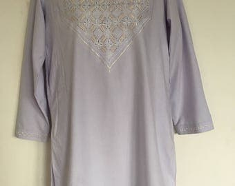 Ladies Handmade Moroccan arabic inspired fab Embroidery Tunic size M