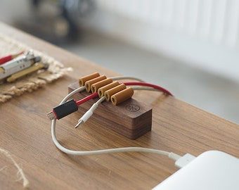 wooden leather cable organizer peel and stick wire organizer wire cord sorter desktop