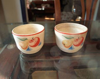 Two Harker Pottery Bakerite Oven Tested Ceramic Antique Fruit Cups / Custard Cups / Dessert Bowl– circa 1930's – Country Chic Décor