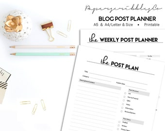 Social Media Planner, Printable Blog Planner, Project Planner, Weekly Planner, Planner Agenda, A5 A4/Letter Planner, Filofax Inserts