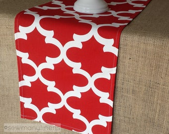 Red Table Runner Moroccan Quatrefoil Lattice Dining Room Home Decor Table Centerpiece Red and White Linens Table Decoration