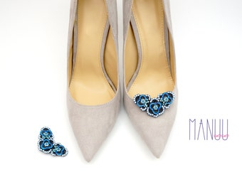 Shoe jewelry - shoe clips Manuu, bridal shoe clips , shoe clips wedding, Blue shoe clips, Something blue