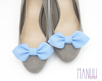 Blue bows shoe clips - shoe bows Manuu, shoe accessories, handmade bows, something blue