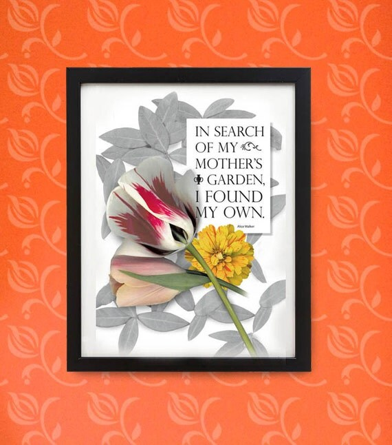 Parrot tulip quote in wood frame. Typography for gardeners and flower lovers. Framed digital print for wall or desk.