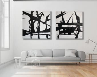 Extra Large Black and White Paintings, Set / Pair of Black and White Abstract Paintings / Texture Black and White Art / Modern Art