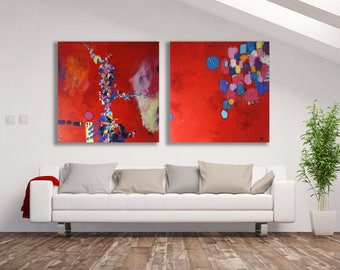 Set of Abstract Paintings, Red / Pair of Paintings / Red Abstract Paintings, Set / Extra Large Pair of Paintings / Modern Art Set /