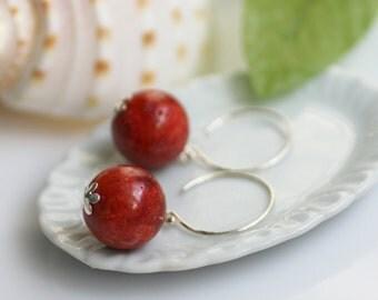 coral earrings, beach earrings, beach jewelry, coral and silver earrings, red coral earrings, red earrings, red coral earrings